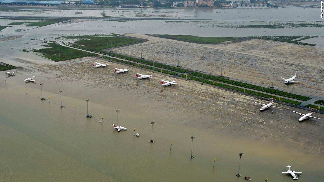 A flooded view of the Chennai airport in Chennai, India taken December 3.