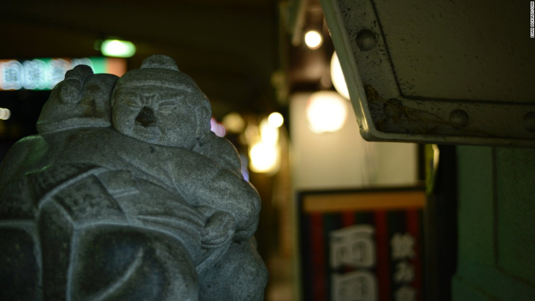 During the out-of-town tournaments, Ryogoku is quiet but especially during the three annual Tokyo Grand Tournaments, the place thrums with a unique mix of culture and tradition, with rikishi an ever-present sight in the neighborhood. <br /><br />Reminders of the neighborhood's association with the sport, like this small statue in the west entrance of Ryogoku station, are everywhere.
