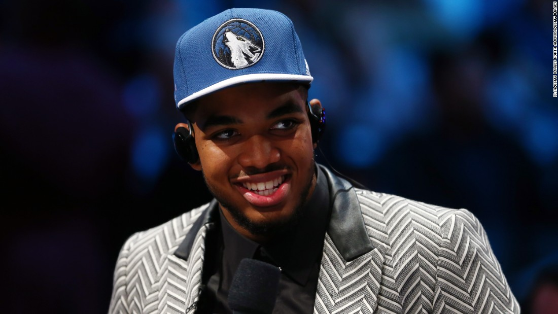 After being drafted first overall by the Minnesota Timberwolves in June, Karl-Anthony Towns thanked his suit designer Adrien Sauvage for the one-off piece which arrived from London that morning.