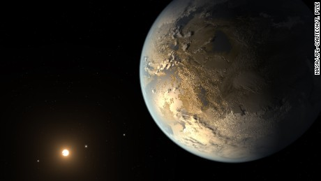 The artist's concept depicts Kepler-186f, the first validated Earth-size planet to orbit a distant star in the habitable zone—a range of distance from a star where liquid water might pool on the planet's surface.