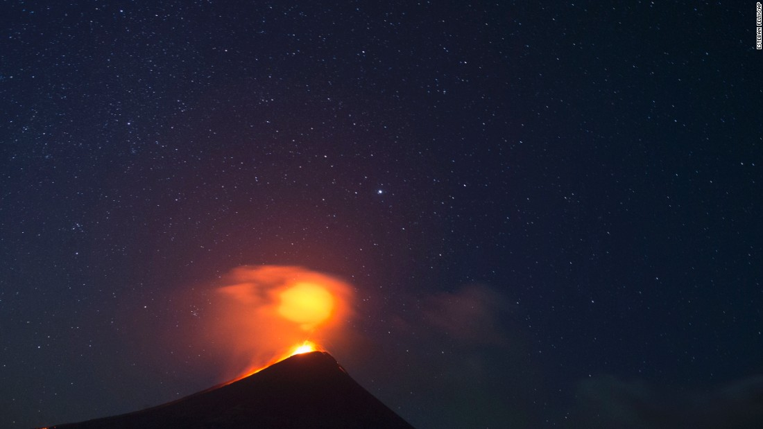 The Momotombo volcano erupts just before daybreak in Leon, Nicaragua, on Friday, December 4. The volcano had been quiet for many years.