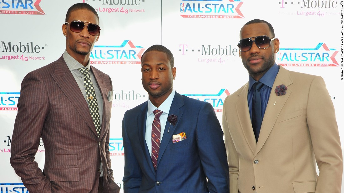 "The former ""Big Three"" of the Miami Heat -- (from L-R) Chris Bosh, Dwyane Wade and LeBron James -- changed the face of NBA fashion when they teamed up in 2010."