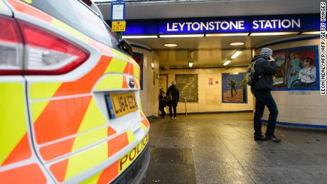 "A police car is seen parked outside Leytonstone station in north London on December 6, 2015. Police were called to reports of people being attacked at Leytonstone around 19:00 GMT on December 5. The police have said that they are considering a knife attack the previous evening as a "" terrorist incident"" after reports that the man reportedly shouted ""this is for Syria"". The man was arrested after being Tasered by police. One man suffered serious knife injuries while two others received minor injuries. / AFP / LEON NEAL        (Photo credit should read LEON NEAL/AFP/Getty Images)"