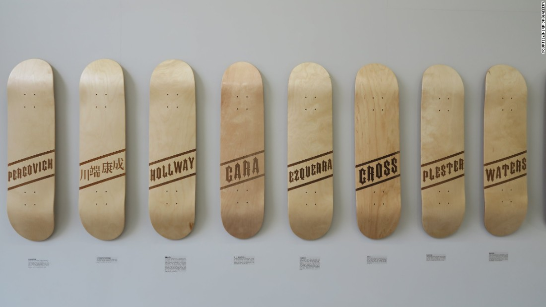 The names on Gregor's boards range from the world-famous to the niche. There's Nobel Prize-winning Japanese author Kawabata Yasunari, of whom Gregor is a fan; Cara Delevingne, who he worked on a film with; and comic artist Carol Ezquerra, whose Judge Dredd drawings he pored over as a boy.