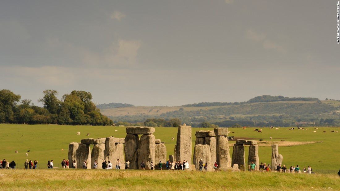 The very large standing stones at Stonehenge are made from 'sarsen', a local sandstone, but the smaller ones, known as 'bluestones.'