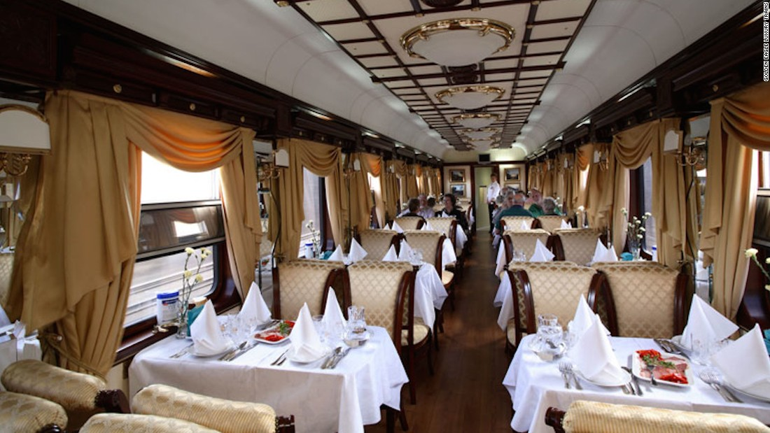The Golden Eagle features both a restaurant car and a separate lounge. The restaurant car, pictured, serves a breakfast buffet, while lunch and dinner menus feature local specialties such as black sturgeon and red pacific salmon caviar.
