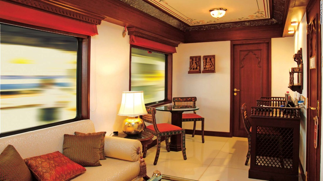 The decor of the Maharajas' Express was inspired by the golden days of the Raj, when Maharajas traveled with opulence and pomp in ostentatious carriages.