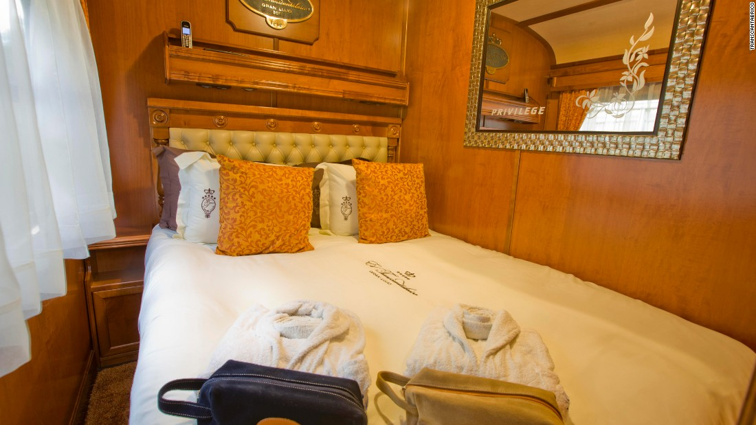 The Transcantabrico Gran Lujo stays parked at the station every night to help passengers get a good night's sleep. Deluxe Suites come with a living room, bedroom and ensuite bathroom.
