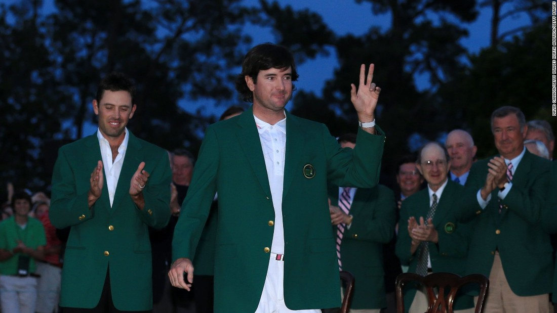 Watson's win came in virtual darkness in Georgia as previous winner Charl Schwartzel handed him the green jacket in the traditional ceremony in front of the Augusta National clubhouse.