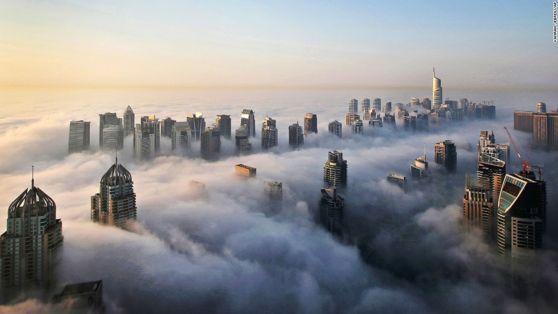 Where just 15 years ago there was empty, flat land, this stretch of Dubai is now home to the bustling Marina and Jumeirah Lake Towers districts. The impressive skyline is seen here piercing through a blanket of early morning fog.