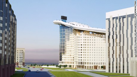 Slalom House is depicted in central Astana, Kazakhstan.