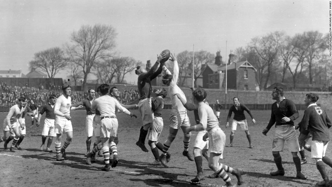 The last time rugby was included at the Olympics was in 1924 in Paris. Here the U.S. (in white) takes on Devonport Services in a warmup game in April that year.