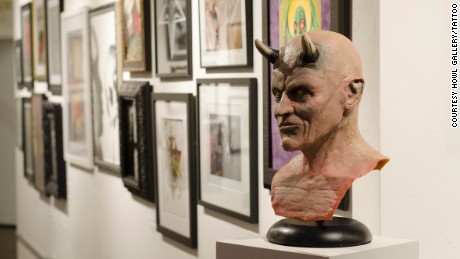 Satanic artwork at a recent exhibit sponsored by the Church of Satan at the HOWL Gallery in Fort Myers, Florida.