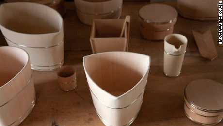 Nakagawa employs 700-year-old carpentry techniques in the making of wooden buckets and other specialist items