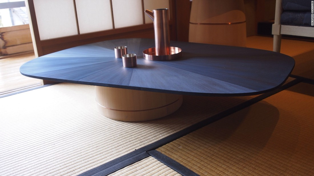 This indigo-dyed table was also designed and built in collaboration with OeO.