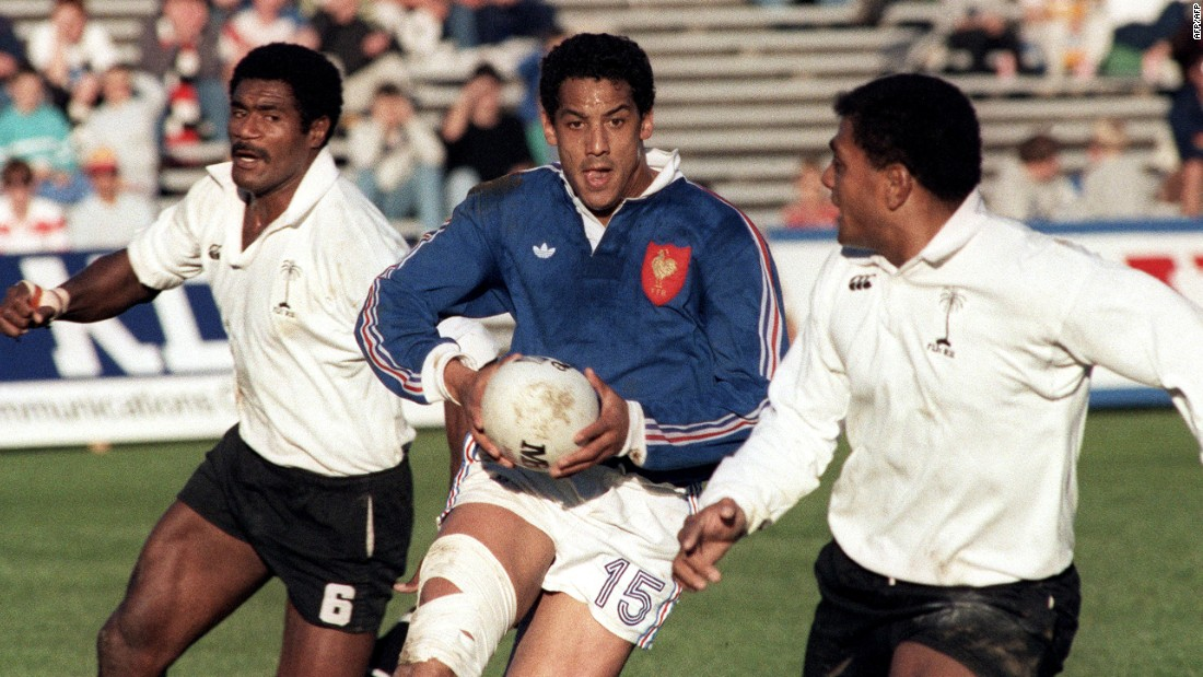 France rugby great Serge Blanco, who starred in the 1980s, was another to turn out for one of Adams' charity matches.