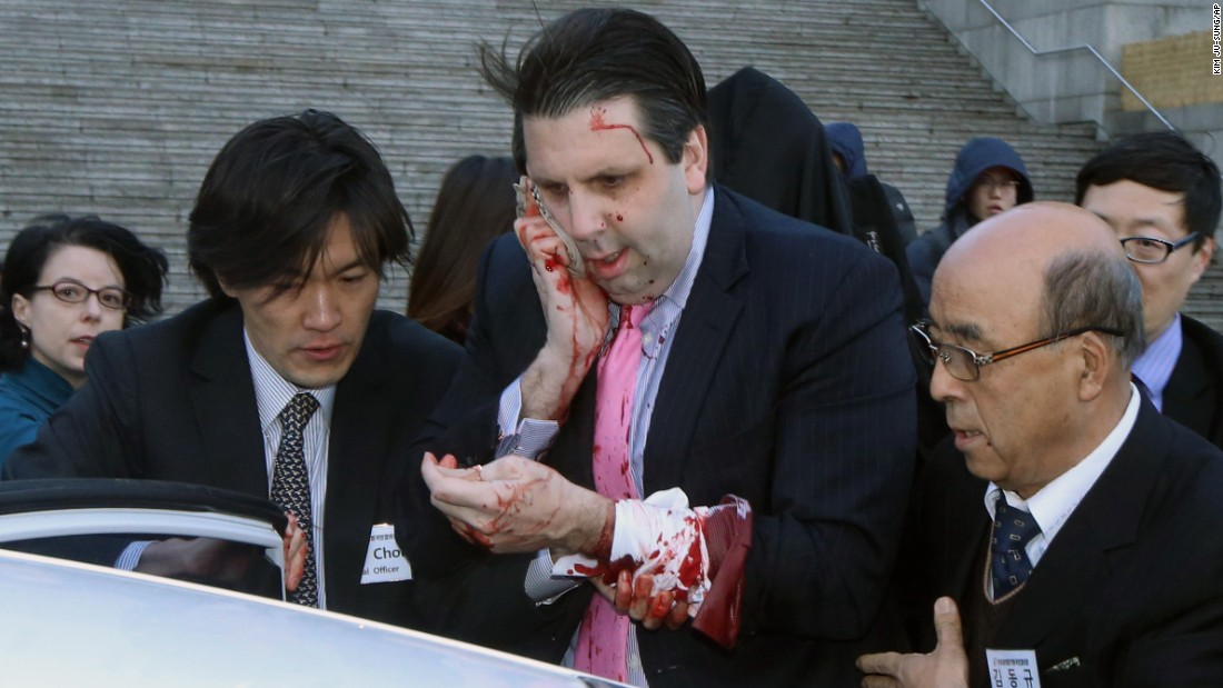 "Mark Lippert, the U.S. ambassador to South Korea, leaves for a hospital after he was attacked Thursday, March 5, in Seoul, South Korea. According to Seoul police, Lippert <a href=""http://www.cnn.com/2015/03/04/politics/ambassador-attacked-south-korea/index.html"" target=""_blank"">was slashed on his right cheek and hand</a> with a knife measuring about 10 inches long. The attacker, Kim Ki-Jong, <a href=""http://www.cnn.com/2015/09/10/asia/south-korean-stabbing-sentence-u-s-ambassador/"" target=""_blank"">was convicted of attempted murder in September</a> and sentenced to 12 years in prison."