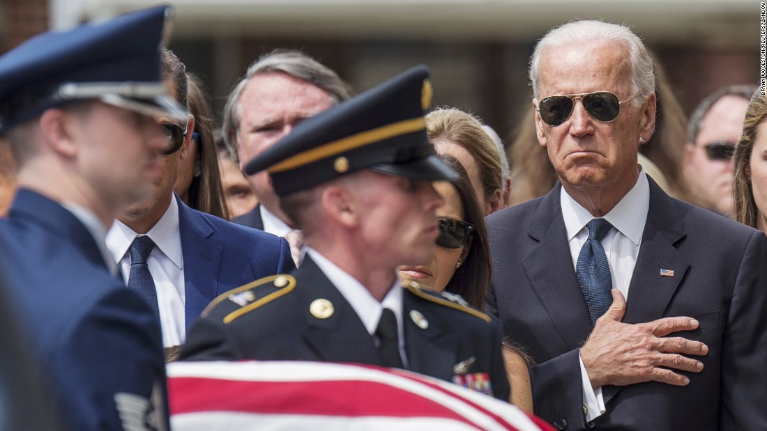 "Vice President Joe Biden places his hand over his heart as the casket of his late son, former Delaware Attorney General Beau Biden, is carried into a church in Wilmington, Delaware, for <a href=""http://www.cnn.com/2015/06/04/politics/gallery/beau-biden-wake/index.html"" target=""_blank"">a funeral</a> on Saturday, June 6. Beau Biden died of brain cancer at the age of 46."