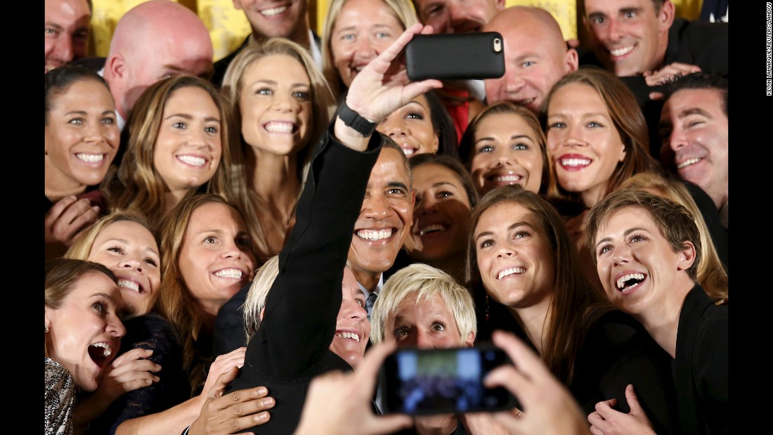 President Obama poses for a selfie with the U.S. women's soccer team during its trip to the White House on Tuesday, October 27. The team won the Women's World Cup this summer.