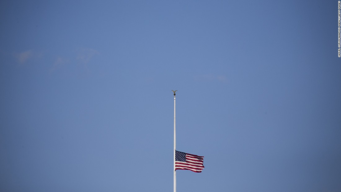 "The American flag flies at half-staff above the White House on Thursday, December 3. President Obama signed a proclamation for all flags to be flown at half-staff to honor the victims of a <a href=""http://www.cnn.com/2015/12/02/us/gallery/san-bernardino-shooting/index.html"" target=""_blank"">mass shooting</a> in San Bernardino, California."