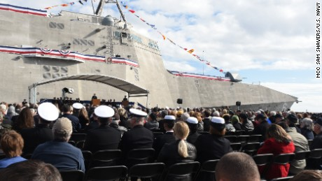 Secretary of the Navy (SECNAV) Ray Mabus delivers remarks during the christening ceremony for the Navy's newest Independence-variant littoral combat ship, USS Jackson (LCS 6), in Gulfport, Miss.