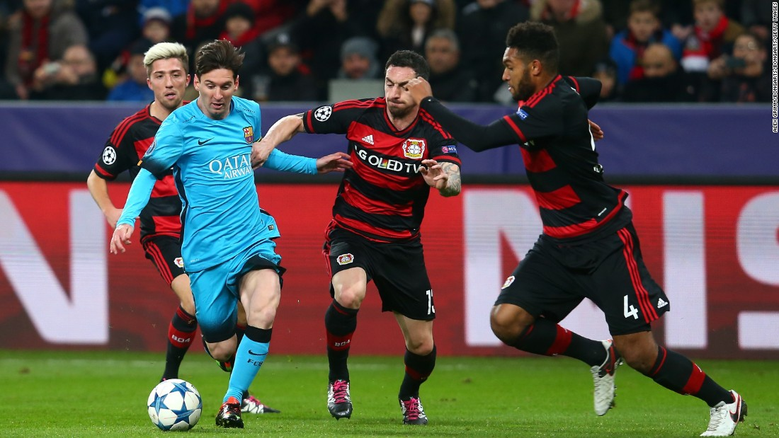 Lionel Messi was on target once again but his Barcelona side was held to a 1-1 draw by Bayer Leverkusen.