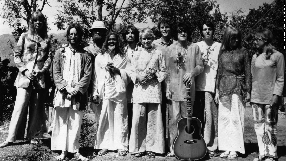 The Beatles weren't the only celebrity devotees who journeyed to India in 1968. John Lennon is second from left, followed by Mike Love from The Beach Boys, Mahareshi Mahesh Yogi, George Harrison, actress Mia Farrow, musician Donovan (fourth from right), Paul McCartney and actress Jane Asher (second from right).
