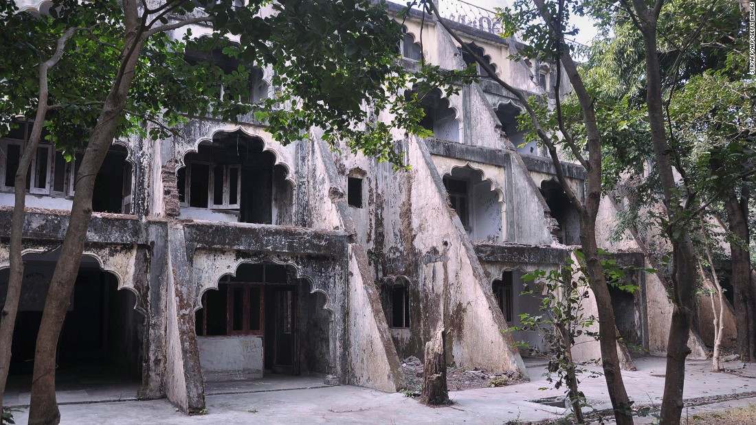 These were the dwellings at The Beatles Ashram. A sign stood outside the building to indicate that the Liverpool band had stayed and wrote songs here.