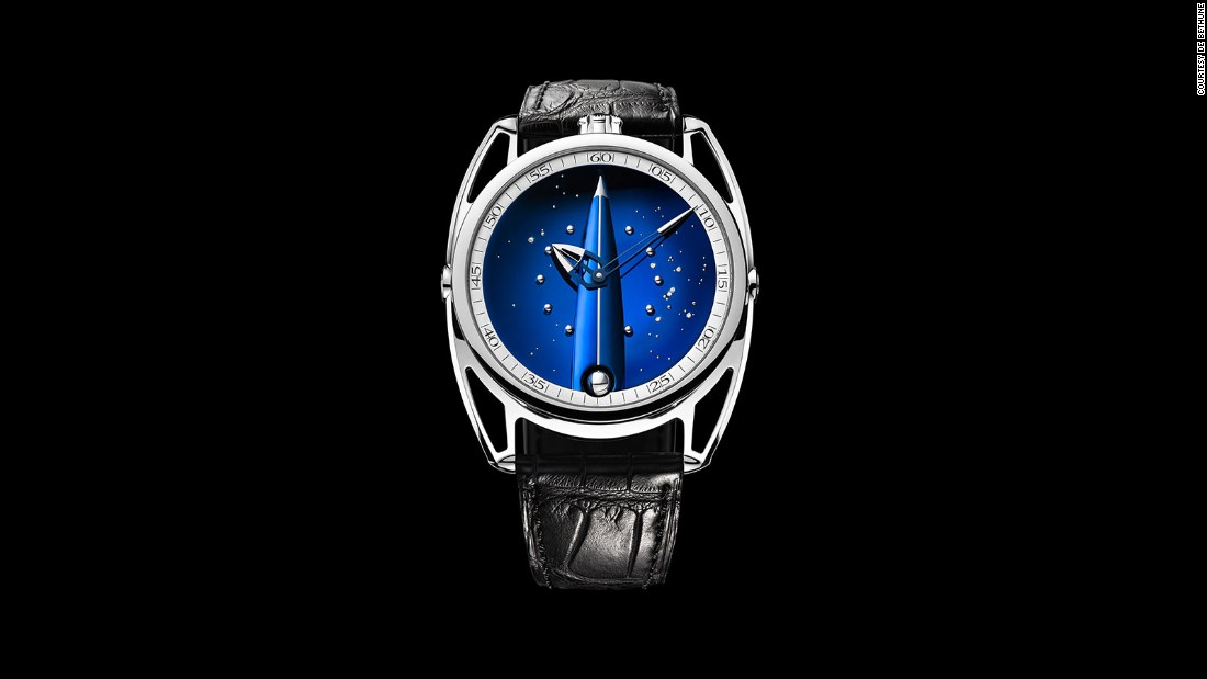The DB28 Skybridge features a blue titanium base as the dial, and is finished with polished titanium balls and diamonds. The dial imitates the night sky.