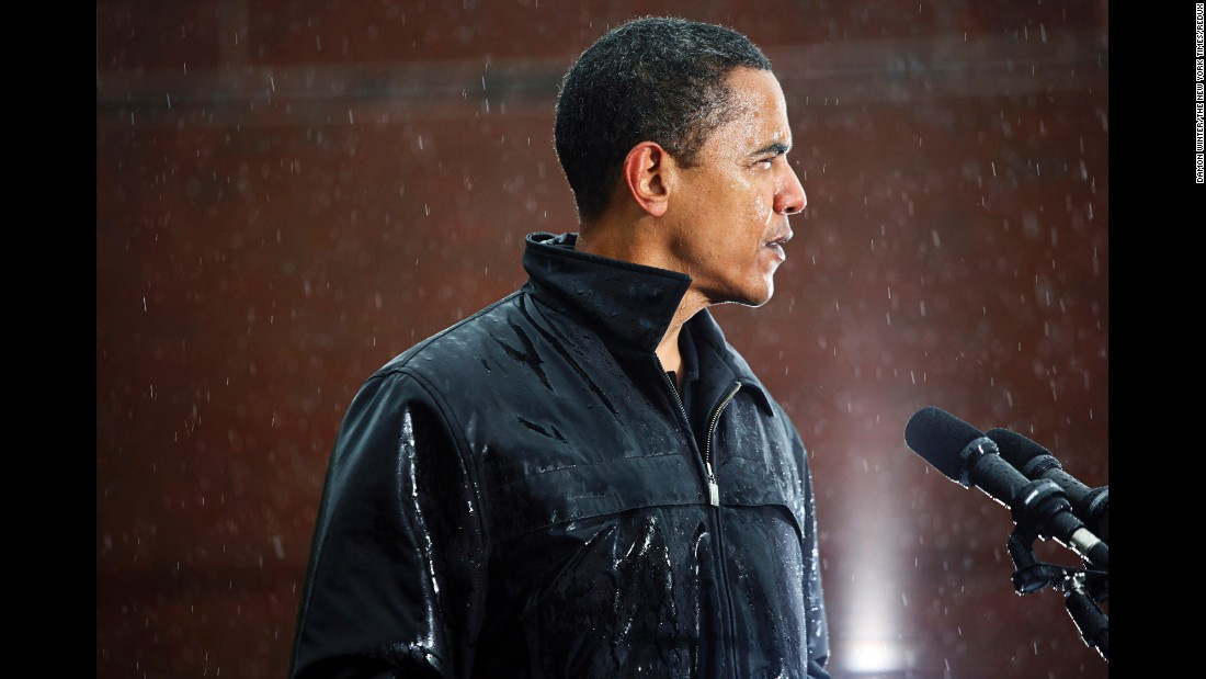 Barack Obama campaigns during a rainstorm in Chester, Pennsylvania, in this October 28, 2008, photo. The photo was part of a collection of campaign images that won the 2009 Pulitzer Prize. Damon Winter used a Canon 5D camera with various lenses and exposures.