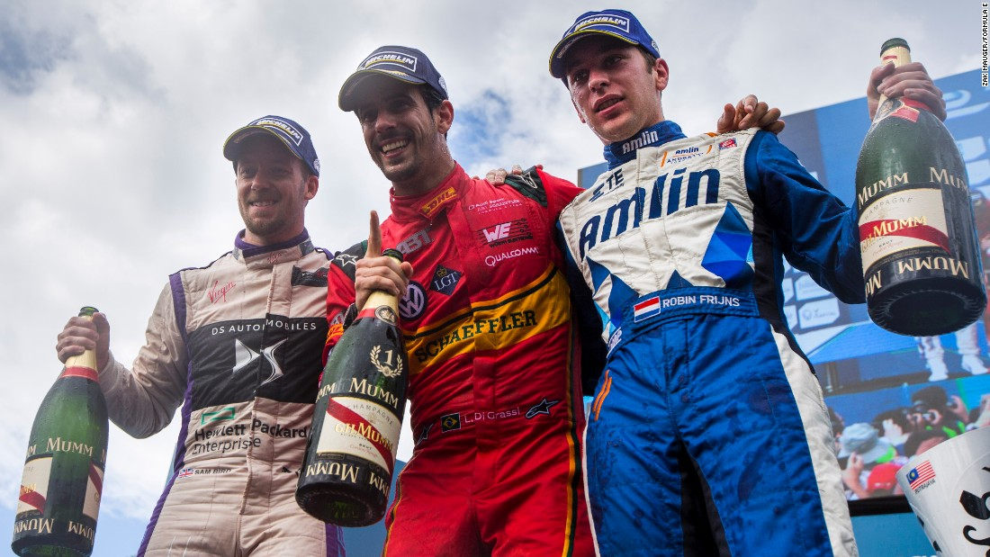Sharing the podium at round two in Putrajaya were race winner Lucas di Grassi (center), runner-up Sam Bird (left) and third-placed Robin Frijns (right). Holding practice, qualifying and the ePrix in a single day means the podiums can be tricky to predict.