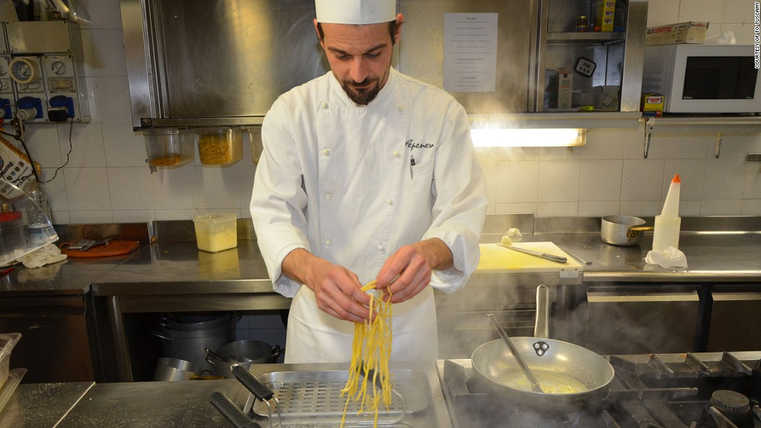 "Chef Gilberto Rossi is well known in Italy due to his appearances on ""La prova del cuoco,"" a popular Italian cookery show. While he prepares tagliolini for us, his TV show airs at the same time."