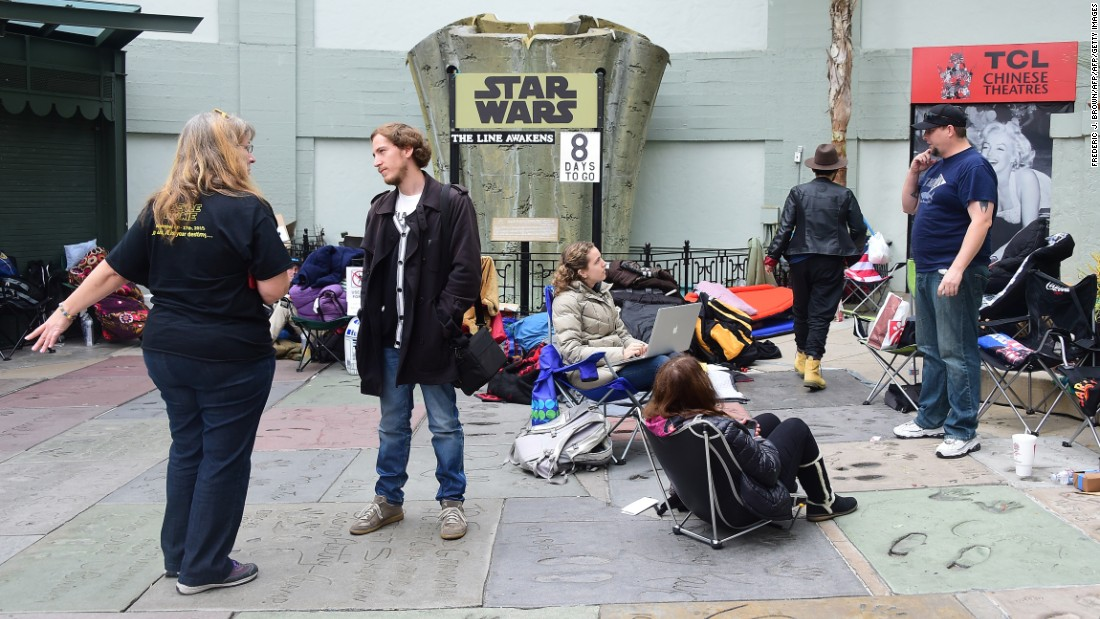 Star Wars fans congregate in front of the TCL Chinese Theatre in Hollywood, in anticipation for the new film, 'The Force Awakens', which opens on December 17.