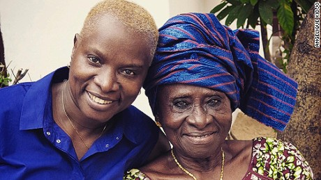 Angelique Kidjo with her mom