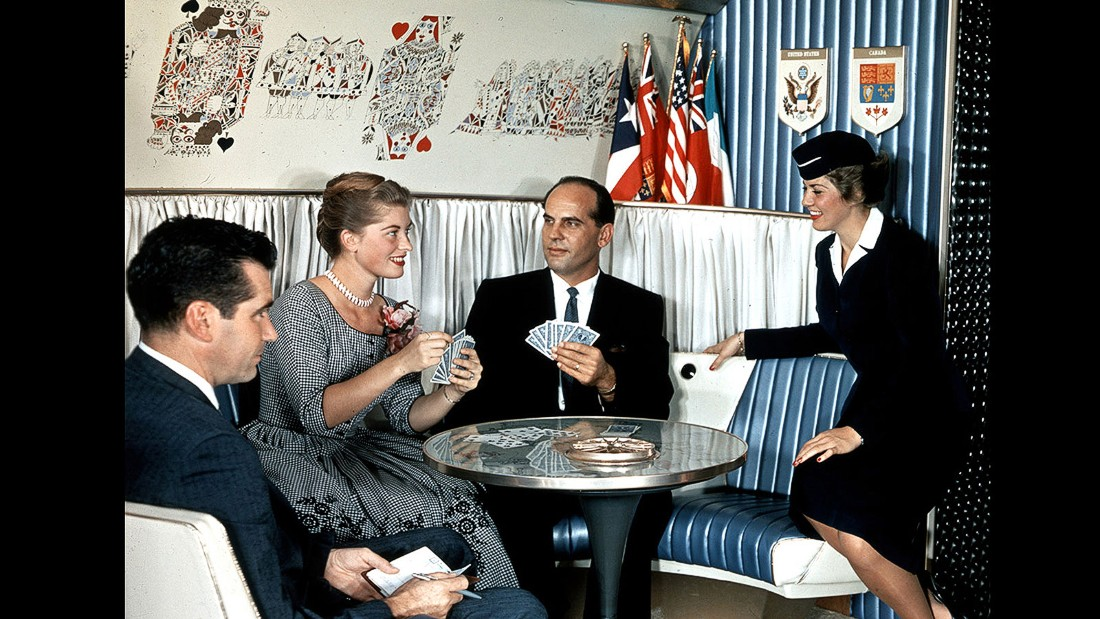 Airlines often provided playing cards to help pass the time. There's clearly something other than cards going on here though. Why else would a young Dick Nixon be taking notes in the corner?