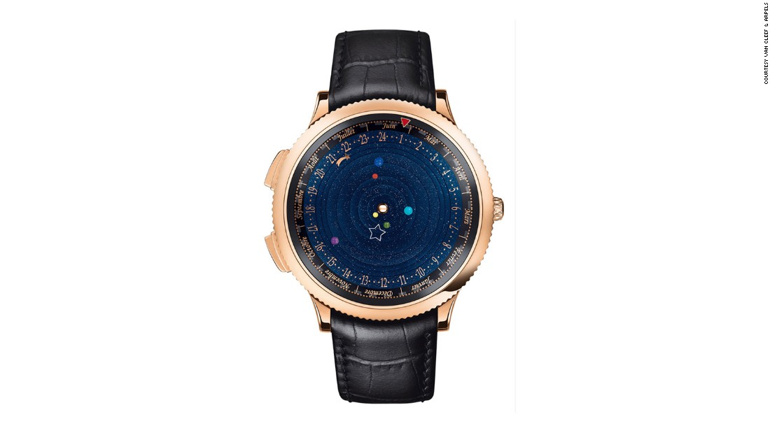 The Midnight Planetarium by Van Cleef & Arpels features a miniature version of the solar system on its watch face.