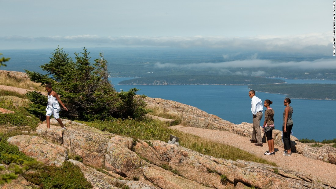 The Obama family hikes on Cadillac Mountain  in Acadia National Park, Maine, in July 2010.