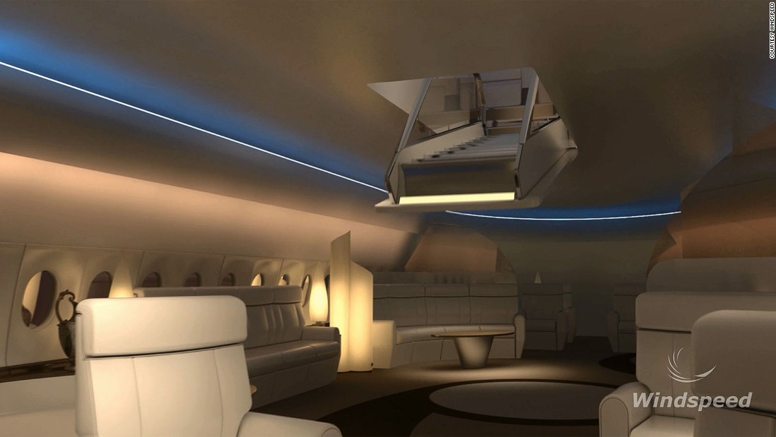 Another design employs a drop-down staircase to access the viewing seats. Windspeed says smaller aircraft could be fitted with single SkyDeck seats.