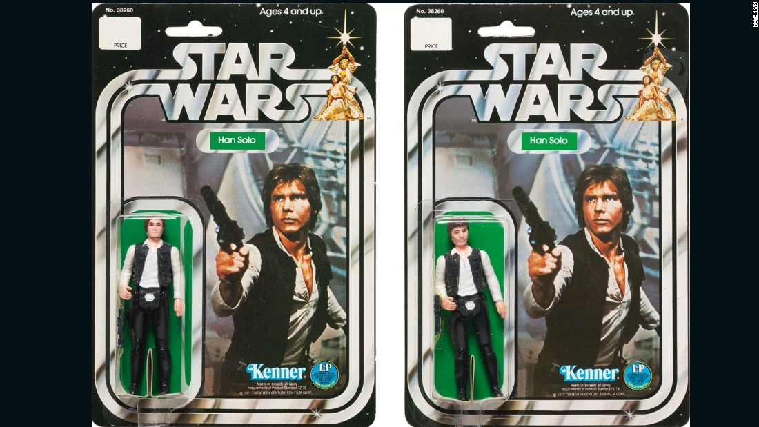Measuring 6 by 9 inches each, these Han Solo action figurines from 1978 went for close the expected sale price of $5,000.