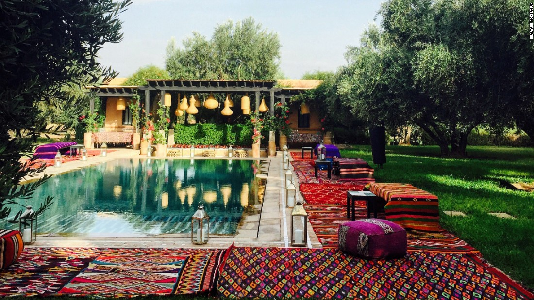 "<a href=""https://www.instagram.com/mmontagueliving/"" target=""_blank""><strong>Maryam Montague<strong></a></strong>, interior designer and hotelier, Marrakesh, Morocco.</strong><br /><br />By the poolside at Montague's boutique hotel, Peacock Pavillions. ""I love creating a Moroccan lounge-y feel for parties outside,"" she says. ""The relaxed bohemian vibe, with plenty of color and pattern, makes everyone want to dance!"""