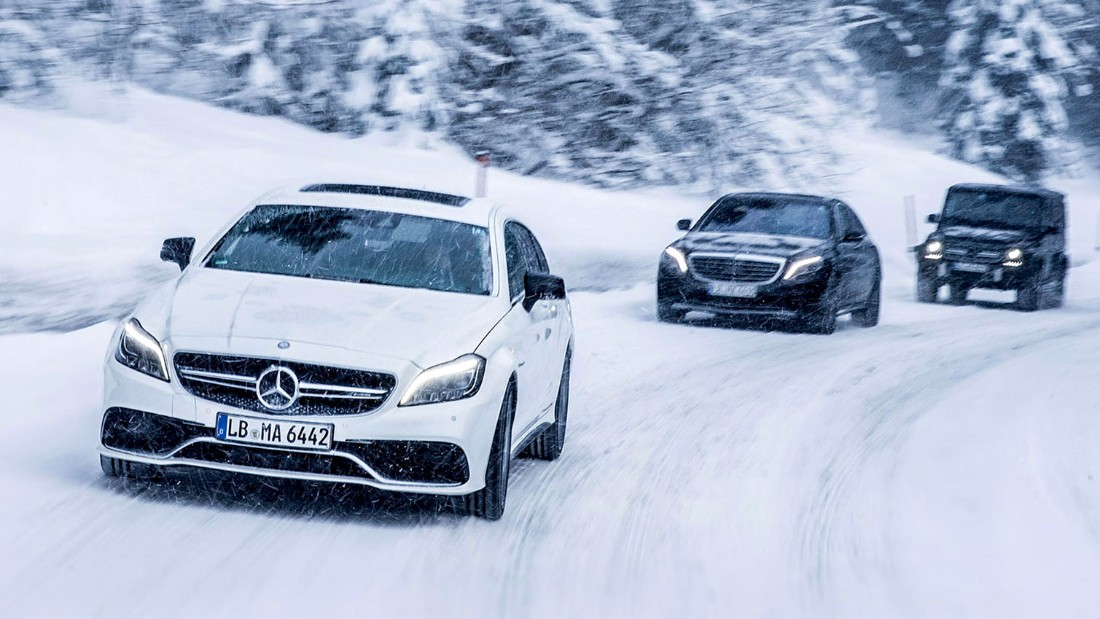 "Mercedes-Benz's high performance division offers a suitably <a href=""https://www.mercedes-amg.com/driving-academy/ada.php?lang=eng#/events/winter/amglodge"" target=""_blank"">luxurious winter driving experience</a> at its private lodge in Arjeplog, Sweden. You can choose one of their famed supercharged sports cars, of course, but if you go taking a spin in the iconic military-derived G-Wagen SUV is a must."