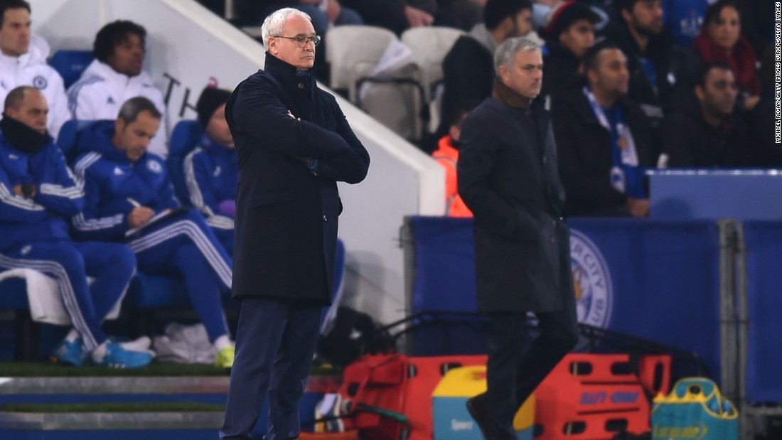 It was a special night for Leicester manager Claudio Ranieri (left), who was replaced by Jose Mourinho (right) as Chelsea manager in 2004.