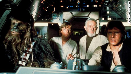 The interior of the Millennium Falcon in a shot from Episode IV. Notice Christian's dice, hanging from the ceiling of the cockpit.