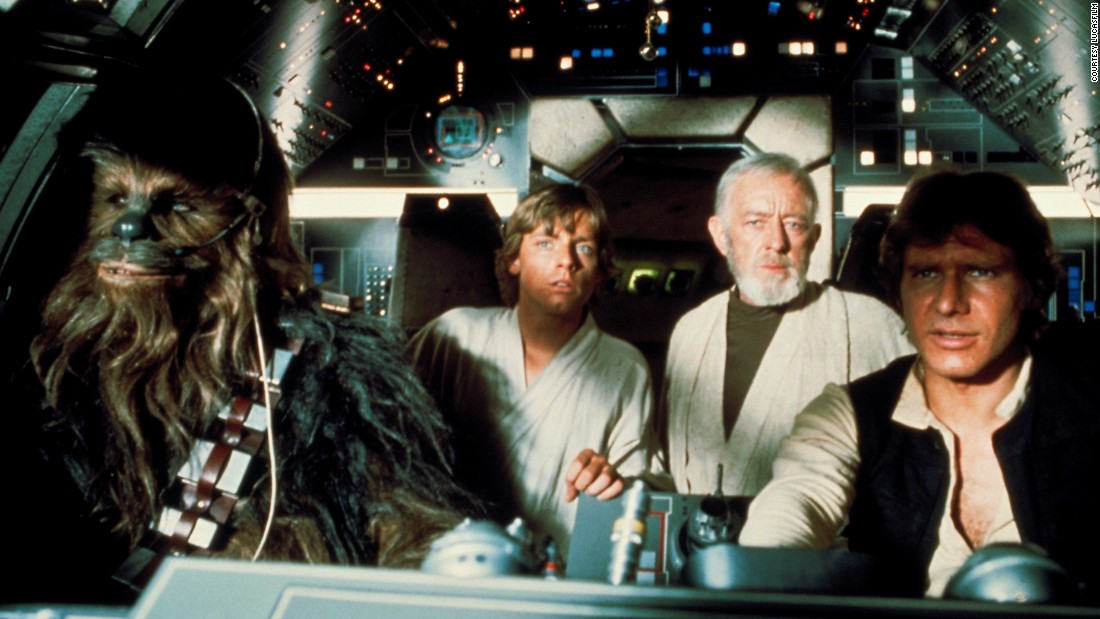 The interior of the Millennium Falcon in a shot from Episode IV. The set was created from airplane scrap by Roger Christian, who would win an Academy Award for his efforts.