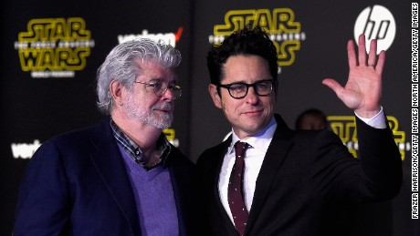"HOLLYWOOD, CA - DECEMBER 14:  Directors George Lucas and  J.J. Abrams attend The Premiere Of Walt Disney Pictures And Lucasfilm's ""Star Wars: The Force Awakens"" on December 14, 2015 in Hollywood, California.  (Photo by Frazer Harrison/Getty Images)"