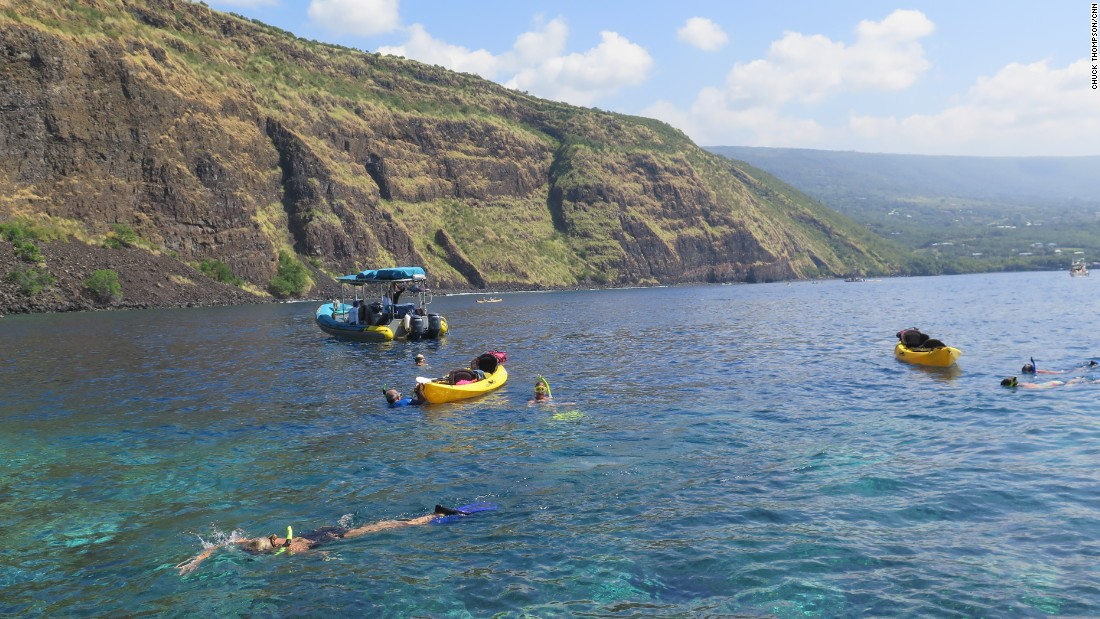 There are a ton of great snorkel spots in Hawaii, but Kealakekua Bay not only has fish, turtles and dolphins, it's got history. This photo was taken at the Captain Cook Monument, erected near the site where famed circumnavigator James Cook was killed in 1779.