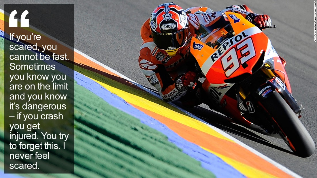 "His fearless attitude has helped him overcome career-threatening injuries to become the brightest young star in motorcycling, challenging MotoGP legend Valentino Rossi. <a href=""http://edition.cnn.com/2015/12/16/sport/marc-marquez-motogp-motorcycling/index.html"" target=""_blank"">Read more</a>"