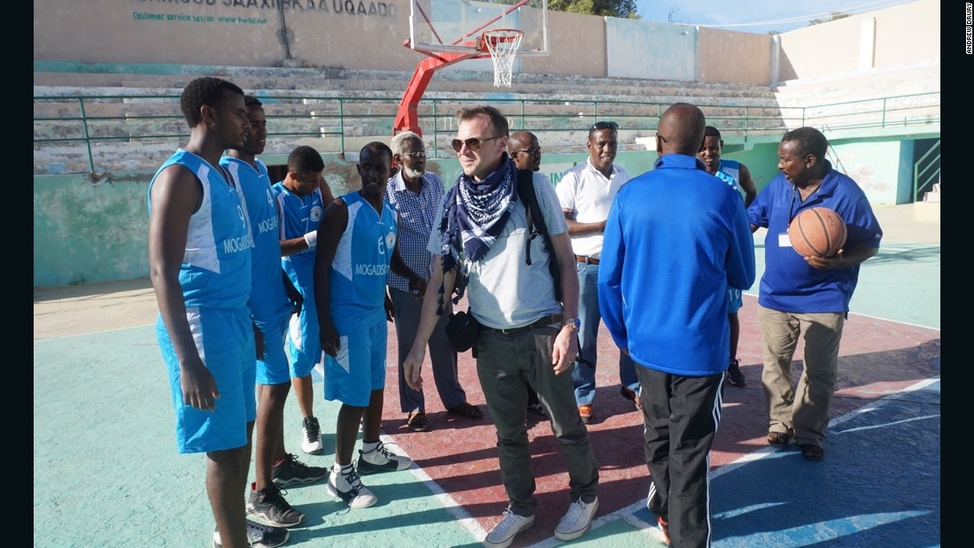 In recent years, Drury has become more interested in connecting to local communities. He now sponsors a basketball team in Mogadishu and returns to watch them play.