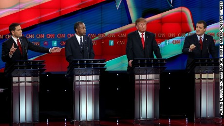 Republican presidential candidates (L-R) Sen. Marco Rubio (R-FL), Ben Carson, Donald Trump and Sen. Ted Cruz (R-TX), on stage during the CNN republican presidential debate at The Venetian Las Vegas on December 15, 2015 in Las Vegas, Nevada. Thirteen Republican presidential candidates are participating in the fifth set of Republican presidential debates.