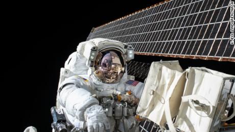Astronaut Scott Kelly on a spacewalk on November 6, 2015, as taken by fellow astronaut Kjell Lindgren.
